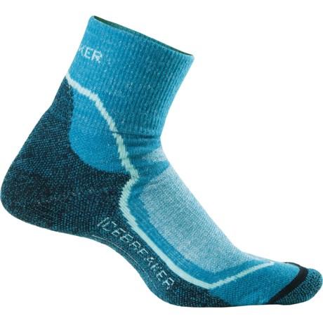 Icebreaker Hike + Lite Mini Socks - Merino Wool, Quarter-Crew (For Women) in Cruise/Teardrop/Admiral