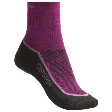Icebreaker Hike Lite Mini Socks - Merino Wool, Quarter-Crew (For Women) in Cranberry/Rose