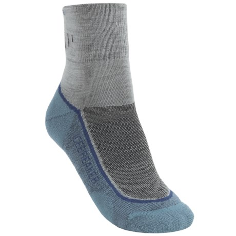 Icebreaker Hike Lite Mini Socks - Merino Wool, Quarter-Crew (For Women) in Silver/Atlantic/Ocean
