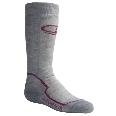 Icebreaker Hike Medium Cushion Socks - Merino Wool, Crew (For Kids) in Grey Heather/Red