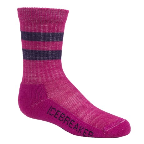 Icebreaker Hike Medium Cushion Socks - Merino Wool, Crew (For Little and Big Kids) in Magenta/Lotus