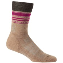Icebreaker Hike Midweight Socks - Merino Wool, Crew (For Women) in Rye Heather/Earthen Heather/Magenta - Closeouts