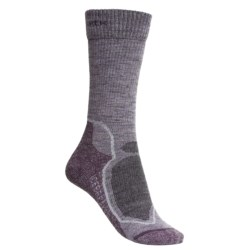 Icebreaker Hike+ Lite Socks - Merino Wool, Crew (For Women) in Blizzard Heather/Teardrop/Cruise