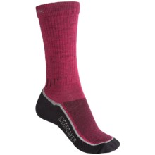 Icebreaker Hike+ Medium Cushion Crew Socks - Merino Wool (For Women) in Bright Pink/Black - 2nds
