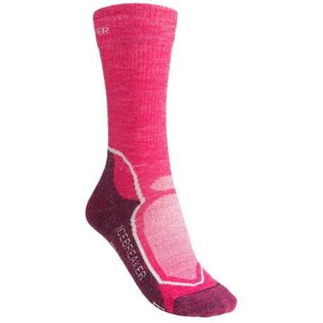 Icebreaker Hike+ Medium Cushion Crew Socks - Merino Wool (For Women) in Bright Pink/Purple Heather