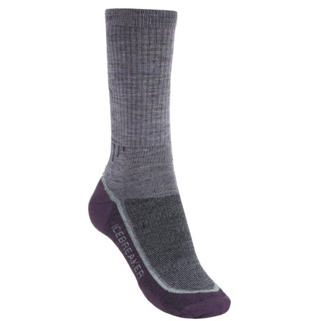 Icebreaker Hike+ Medium Cushion Crew Socks - Merino Wool (For Women) in Light Grey Heather/Charcoal Heather