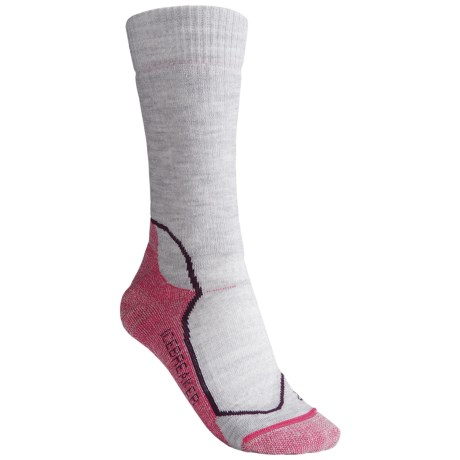 Icebreaker Hike+ Socks - Merino Wool, Midweight, Crew (For Women) in Light Grey Heather/Bright Pink