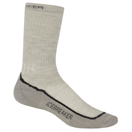 Icebreaker Hike Socks - Merino Wool, Mid Crew (For Women) in Bone/Oil/Silver