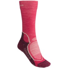 Icebreaker Hike Socks - Merino Wool, Mid Crew (For Women) in Bright Pink/Purple Heather - 2nds