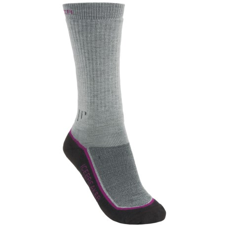 Icebreaker Hike Socks - Merino Wool, Mid Crew (For Women) in Silver/Cranberry/Java