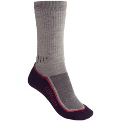 Icebreaker Hike Socks - Merino Wool, Mid Crew (For Women) in Light Sage/Grey/Green Stripes
