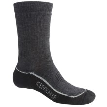 Icebreaker Hike Trek Socks - Merino Wool, Crew (For Women) in Charcoal/Black - 2nds
