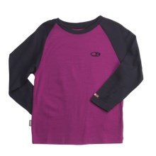 Icebreaker Junior Bodyfit 260 Base Layer Top - Merino Wool, Long Sleeve (For Toddlers) in Cranberry/Divine - Closeouts