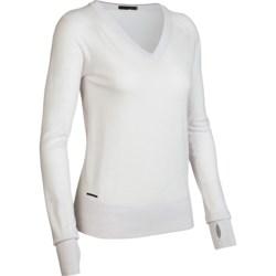 Icebreaker Knitwear Athena Sweater - Merino Wool, V-Neck (For Women) in Bone