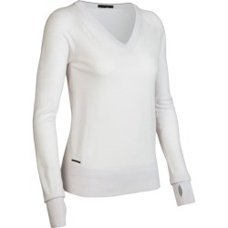 Icebreaker Knitwear Athena Sweater - Merino Wool, V-Neck, Long Sleeve (For Women) in Bone