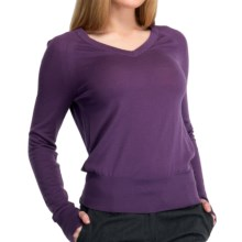Icebreaker Knitwear Athena Sweater - Merino Wool, V-Neck, Long Sleeve (For Women) in Eggplant - Closeouts