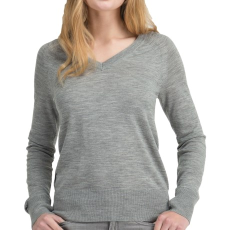 Icebreaker Knitwear Athena Sweater - Merino Wool, V-Neck, Long Sleeve (For Women) in Metro