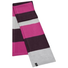 Icebreaker Legacy Stripe Scarf - UPF 20+, Merino Wool-Acrylic (For Men and Women) in Blizzard Heather/Cognac/Magenta - Closeouts