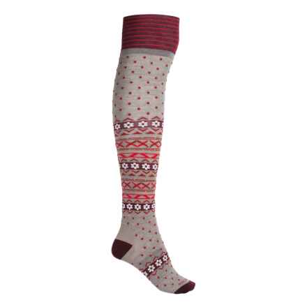 Icebreaker Lifestyle Dotty Socks - Merino Wool, Over the Calf (For Women) in Birch Heather/Redwood/Oxblood - Closeouts