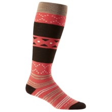 Icebreaker Lifestyle Fiesta Medium Socks - Merino Wool, Over the Calf (For Women) in Azalea/Chocolate/Rye Heather - Closeouts