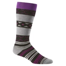 Icebreaker Lifestyle Fiesta Medium Socks - Merino Wool, Over the Calf (For Women) in Black/Twister Heather/Emperor - Closeouts