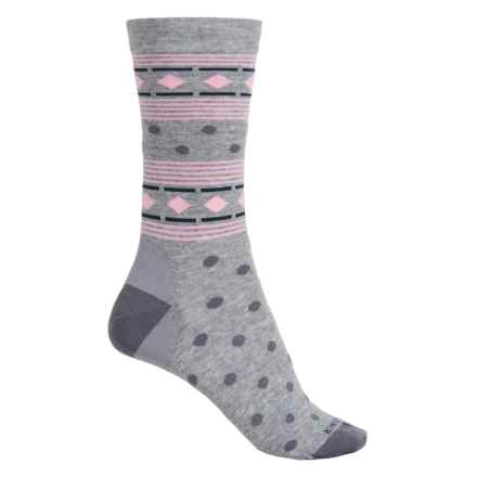 Icebreaker Lifestyle Fine-Gauge Socks - Merino Wool, Crew (For Women) in Blizzard Heather/Jet Heather/Camellia Geometry - Closeouts