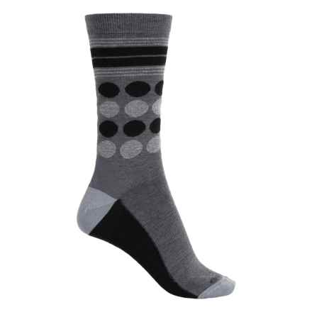 Icebreaker Lifestyle Fine-Gauge Socks - Merino Wool, Crew (For Women) in Jet Heather/Black/Blizzard Heather Dots - Closeouts