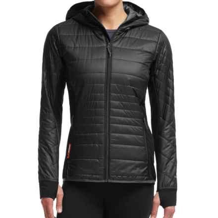 Icebreaker MerinoLOFT Helix Hooded Jacket - Merino Wool, Insulated (For Women) in Black/Monsoon/Monsoon - Closeouts
