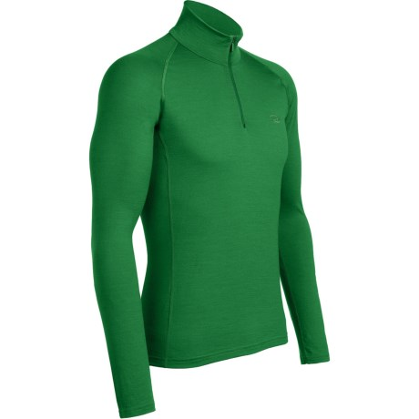 Icebreaker Mondo Zip Neck Base Layer Top - Merino Wool, Lightweight, Long Sleeve (For Men) in Field