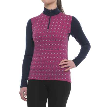 Icebreaker Oasis Align Base Layer Top - Merino Wool, Long Sleeve (For Women) in Pop Pink/Snow/Admiral - Closeouts