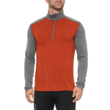 Icebreaker Oasis Base Layer Shirt - Merino Wool, Zip Neck, Long Sleeve (For Men) in Copper/Gritstone Heather - Closeouts
