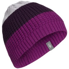 Icebreaker Oasis Beanie Hat - UPF 20+, Merino Wool Blend (For Men and Women) in Vivid/Vino/Blizzard Heather - Closeouts