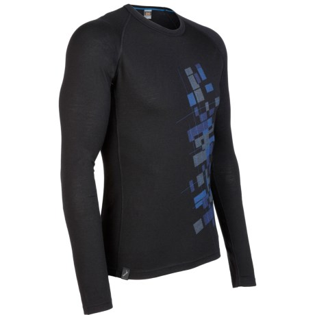 Icebreaker Oasis Print Base Layer Top - Lightweight, Merino Wool, Long Sleeve (For Men) in Intersect Black