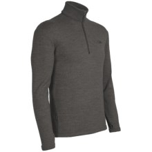 Icebreaker Original Zip Base Layer Top - Merino Wool, Zip Neck, Long Sleeve (For Men) in Gravel - Closeouts