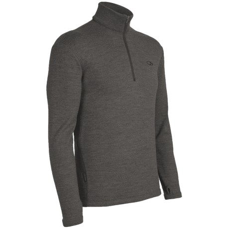 Icebreaker Original Zip Base Layer Top - Merino Wool, Zip Neck, Long Sleeve (For Men) in Gravel