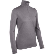 Icebreaker Original Zip Base Layer Top - Merino Wool, Zip Neck, Long Sleeve (For Women) in Silk - Closeouts
