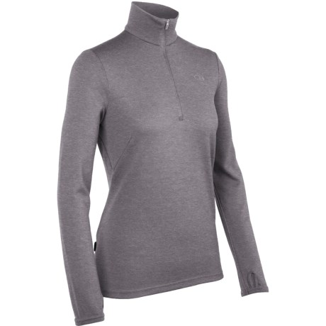 Icebreaker Original Zip Base Layer Top - Merino Wool, Zip Neck, Long Sleeve (For Women) in Silk