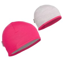 Icebreaker Pocket 200 Beanie Hat - Merino Wool (For Kids and Youth) in Cherub/Blizzard - Closeouts