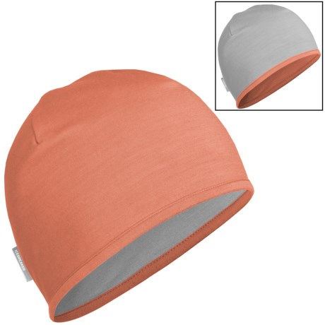 Icebreaker Pocket 200 Beanie Hat - Merino Wool, Reversible (For Men and Women) in Peach/Blizzard