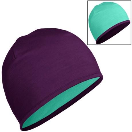 Icebreaker Pocket 200 Beanie Hat - Merino Wool, Reversible (For Men and Women) in Vino/Patina