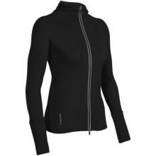 Icebreaker Quantum GT260 Hoodie Sweatshirt - UPF 50+, Merino Wool, Full Zip (For Women) in Black - Closeouts