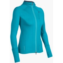 Icebreaker Quantum GT260 Hoodie Sweatshirt - UPF 50+, Merino Wool, Full Zip (For Women) in Gulf - Closeouts