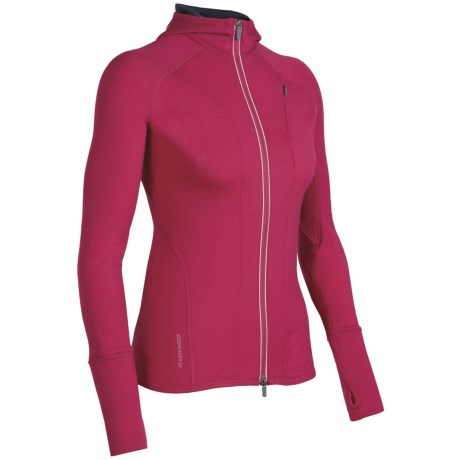 Icebreaker Quantum GT260  Sweatshirt - UPF 50+, Merino Wool, Full Zip (For Women) in Cerise