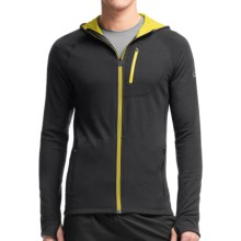 Icebreaker Quantum Hoodie - UPF 40+, Merino Wool (For Men) in Carbon/Chartreuse/Chartreuse - Closeouts