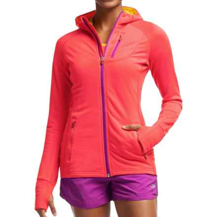 Icebreaker Quantum Jacket - Merino Wool, UPF 40+, Hooded (For Women) in Grapefruit/Fuse/Vivid - Closeouts