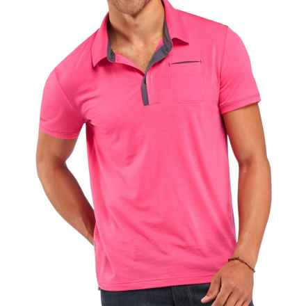 Icebreaker Quattro Polo Shirt - Merino Wool, Short Sleeve (For Men) in Shocking - Closeouts