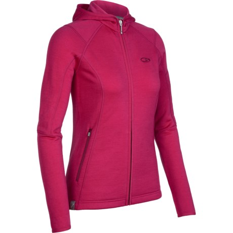 Icebreaker RF260 Cascade Hooded Jacket - Merino Wool, Full Zip, Long Sleeve (For Women) in Ruby
