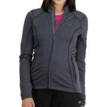 Icebreaker RF260 Cascade Jacket - Merino Wool, Full Zip, Long Sleeve (For Women) in Panther/Cerise - Closeouts