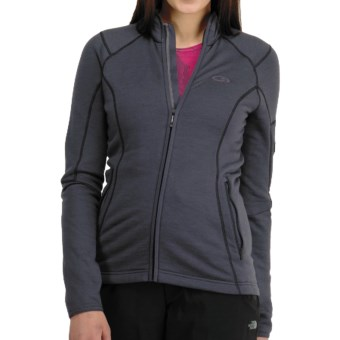 Icebreaker RF260 Cascade Jacket - Merino Wool, Full Zip, Long Sleeve (For Women) in Panther/Cerise