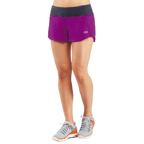 Icebreaker Run Dart Shorts - Stretch Merino Wool, Built-In Briefs (For Women) in Vivid/Panther